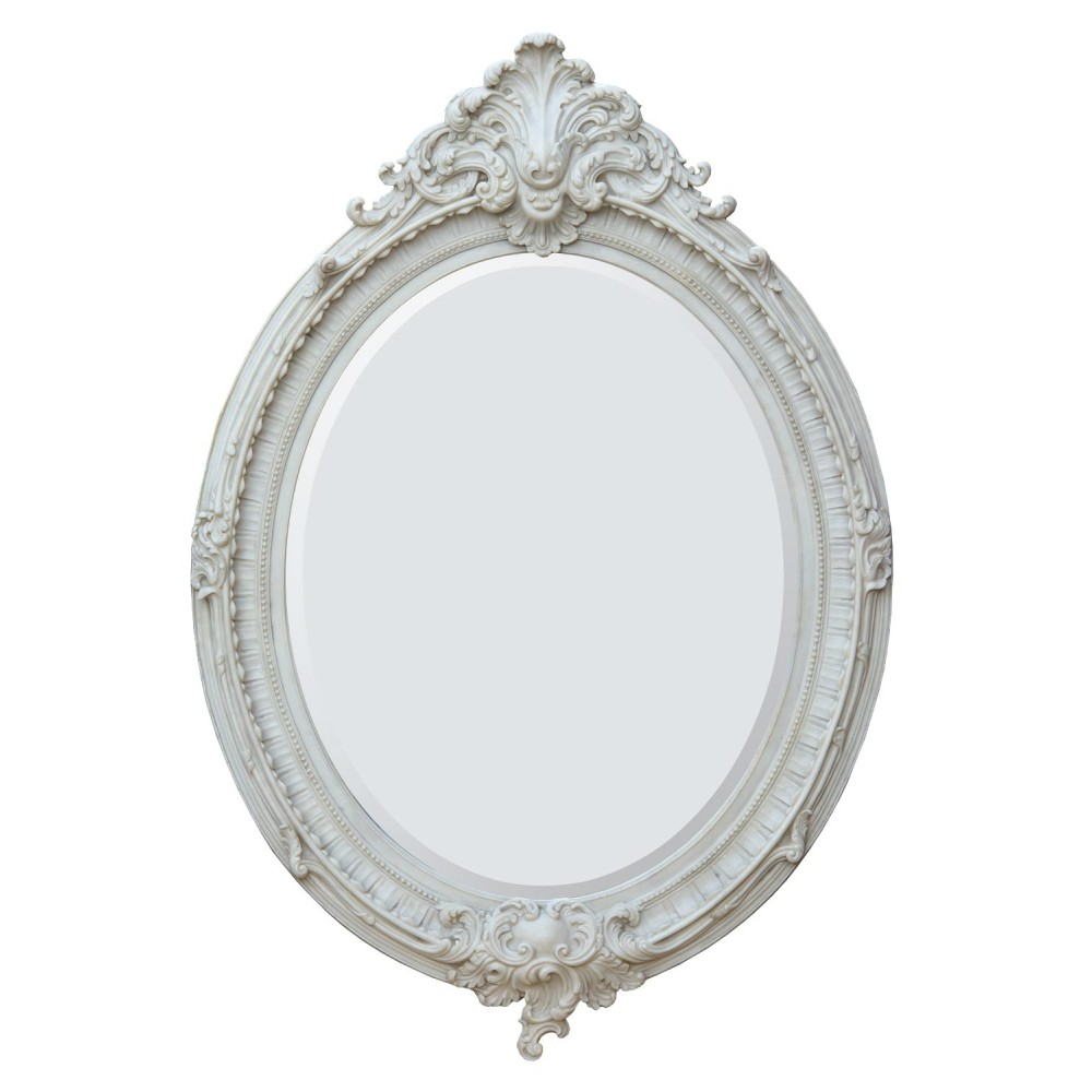 Almandine french rococo antique marbeline leaf oval large for Oval mirror canada