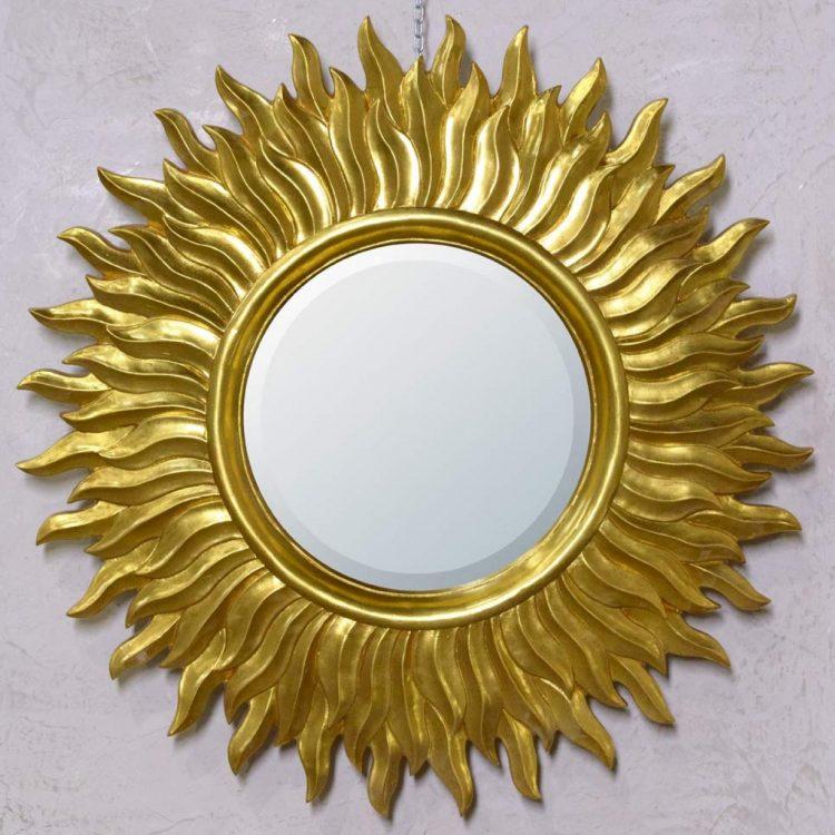 Antique Style Sunburst Gold Round Decorative Wall Mirror