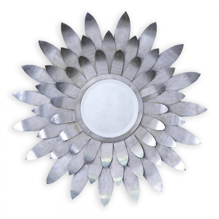 sunburst silver round mirror